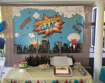 SALE Superhero Backdrop, Superheroes Birthday Backdrop, Boy Superheroes party banner, Comic Superhero Party Backdrop, Superhero skyline