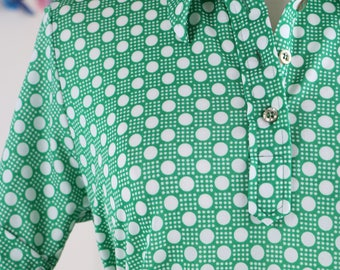 1960s 70s Shirt - Vintage Polka Dot Green White Short Sleeve Polo Shirt - S/M - Hipster Shirt - Retro Top - Groovy Wild Funky Style