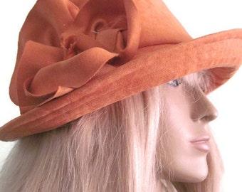 Cloche Hat Women's Pumpkin Orange Tangerine Micro Suede
