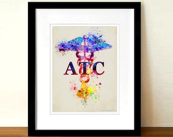 """Watercolor Certified Athletic Trainer (ATC)- Caduceus,8.5"""" x 11"""" print,Athletic Trainer certification gift, Certified Athletic Trainer print"""