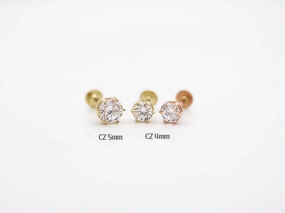 14K Gold Labret PiercingCZ tragus piercingCartilage