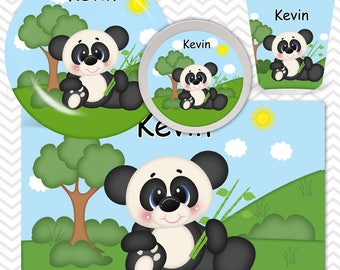 Panda Plate, Bowl, Cup, Placemat - Personalized Zoo Dinnerware for Kids - Custom Tableware