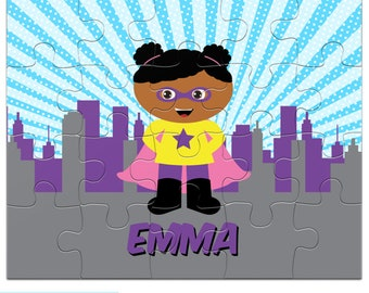 Superhero Girl Puzzle - You Choose Hair, Eyes, Skin - Personalized Puzzle for Kids with Child's Name - 20 pieces - 8 x 10 in - Jigsaw Puzzle