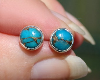 Desert Sky - Turquoise and Pyrite Sterling Silver Stud Earrings