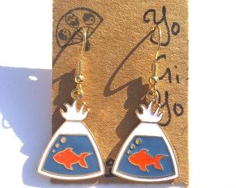 Goldfish Earrings, Enamel Goldfish Earrings, Prize Goldfish Earrings, Carnival Game Earrings, Pet Fish Earrings