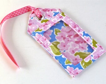 Fabric Luggage Tag Pink Floral