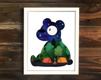 Night Bear Print, cute illustration, camping print, explore art, nursery art, cute print, baby shower