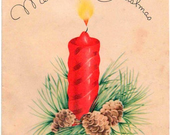 c1960s Christmas card, candle and cones, used, fair shape