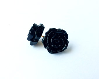 Vintage rose stud earrings-black (black flower earrings, rose buds, resin, post, flower earrings, black rose earrings)
