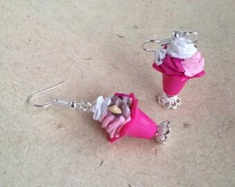 Earrings Icecream, sundae pink, miniature food