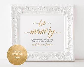 Editable PDF Gold color In Memory Sign Calligraphic Wedding Editable In Loving Memory Sign Template DIY Printable Memory Sign #DP130_09
