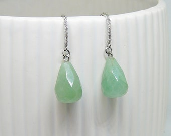 Green Aventurine Earrings Gemstone Earrings Aventurine Drop Earings Cubic Zirconia Earrings with Green Drop Silver Earrings for Women Gift