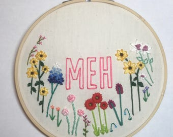 MEH floral hand embroidered hoop