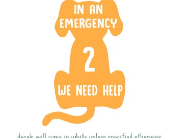 Pet Alert Decal - In Case Of Emergency Dog Decal - Dog Alert Sticker - Fire Safety Decal - Custom Dog Alert Decal - Window Sticker