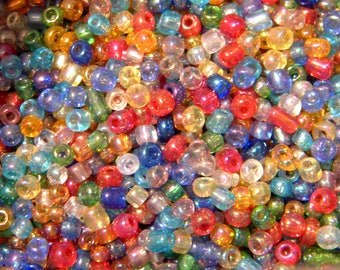 20grams glass 3 mm - ROC105 - multicolored - translucent glass seed beads