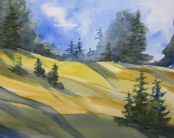 Watercolor Landscape, Archival Print, country landscape, scenic nature painting, hillside landscape, meadow painting, home decor wall art.