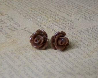 Chocolate Rose Studs