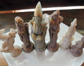 Wizards, Witches, Dragons, Castle, & Pegasus Chess Soaps, Large 9 Piece Figurine Soaps, Custom Colored, Custom Scented, Vegetable Based