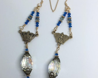 Ave Maria Crown in Solid Bronze with Asian Crystals Earrings - Made in Louisiana