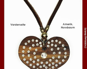 Chain Heart of wood, with Swarovski elements