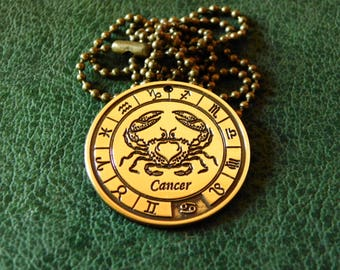 Zodiac Cancer amulet, Cancer Zodiac Jewelry, Constellation Necklace, Zodiac sign