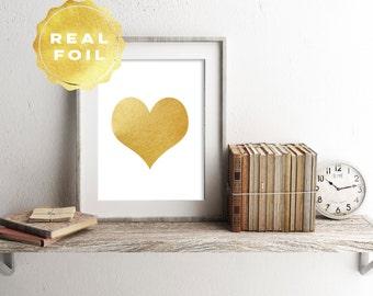 Real Gold Foil Heart Art Print 4 x 6, 5 x 7, Silver Foil, Heart Decor, Wall Art, Trendy Decor, Minimalist, Modern, Print Series, Home Office