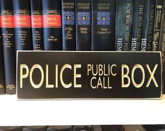 "4"" x 12"" Distressed Rustic Carved Door Hanger Sign Gift Doctor Who Inspired Police Public Call Box Tardis Dr. Who Whovian Time Lord Geek"