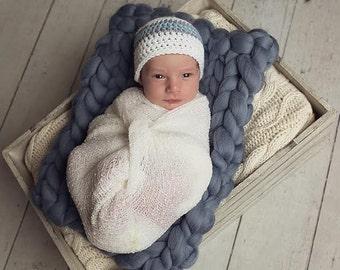 Baby Boy Hat, Crochet Baby Hat, Baby Boy Beanie, Baby Boy, Baby Newborn Hat, Ready to Ship, White Grey Blue, Newborn Baby Hat, Baby Hat