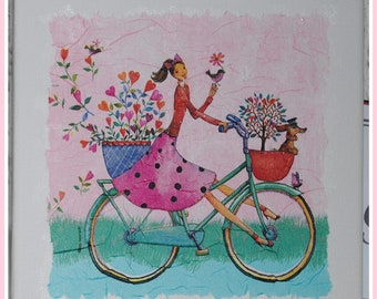 Picture pictures shabby vintage canvas napkins technique girl Bike 20 x 20 cm new