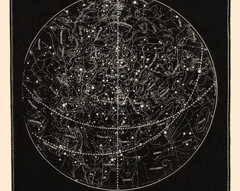 Star Map, Star Chart, Constellation Print, Constellations and Heavens Vintage Astronomy Print, Celestial Bodies, Colored Astronomy Art