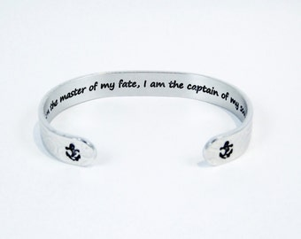 """Encouragement / Awareness / Courage / Graduation """"I am the master of my fate, I am the captain of my soul"""" 3/8"""" hidden message cuff bracelet"""