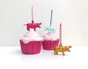 Gold Pink Blue Hippopotamus Candle Holder Cake Topper / Hippo Birthday Party Decor / Hippo Animal Party Decor / Hippo Cupcake Decorations