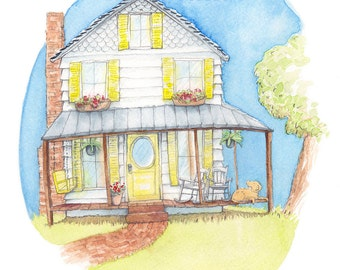 Children's Watercolor Illustration: Country Home