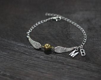 Golden Ball bracelet Gold Ball-Wings Charms quidditch bracelet personalized bracelet, monogram bracelet  C504B