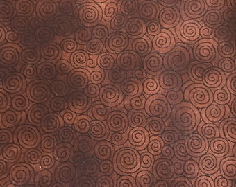 1 Yard 100% Cotton Brown/Rust Small Swirl Print Fabric