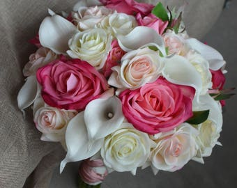 Real Touch Roses Bridal Bouquet ivory Callas Blush Hot pink Roses Ivory Rose Silk Wedding Bouquets