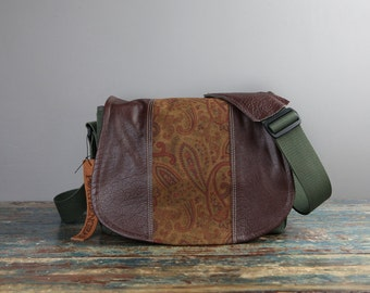 Handmade Leather Camera Bag New Satchel  -   Vintage Paisley Leather Medium DSLR - IN STOCK
