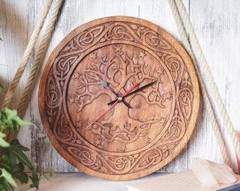 WINDALF Asatru wall clock YGGDRASIL Ø 30 cm Pagan tree of life handmade wood