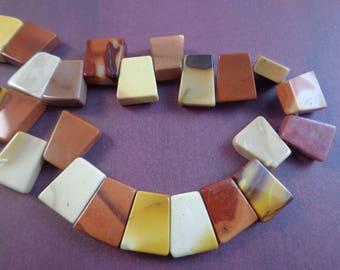 10 Amazing Australian Mookaite Jasper Stone Beads 15x8x4mm Flat Ladder Shaped Stone Beads Red Orange Yellow White Opaque Mookaite #S1078