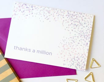 On Sale Today | Purple Confetti | Thanks A Million |  Thank You Card | Confetti | Wedding Thank You | Shower Thank You Thanks A Million Card
