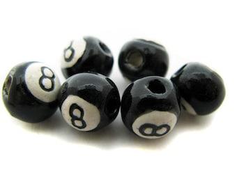4 8 Ball Beads - Small (8-9mm) - ceramic, peruvian, large hole, sports
