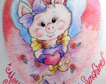 Piglet Valentine Nursery Art Print for Kids You Are My Sunshine 8.5 x 11