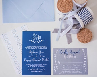 Monogram Navy & Grey Custom Wedding Invitation Suite -100