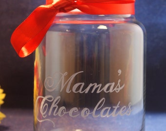 1 Custom Engraved  26 oz Candy Jar with Dome Lid and Free Personalization