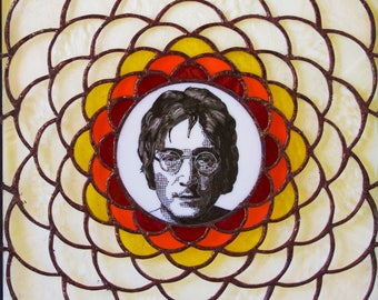 One of a kind stained glass window featuring John Lennon