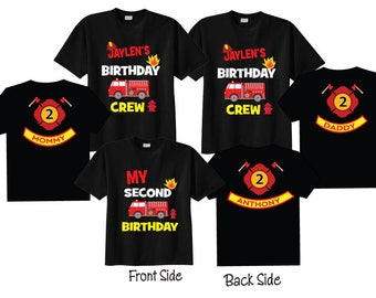 Mom of the Birthday Boy Dad of the Birthday Boy and 2nd Birthday Shirt Firetruck Birthday 4 Shirt Set on BLACK Shirts 9Blgous0QE