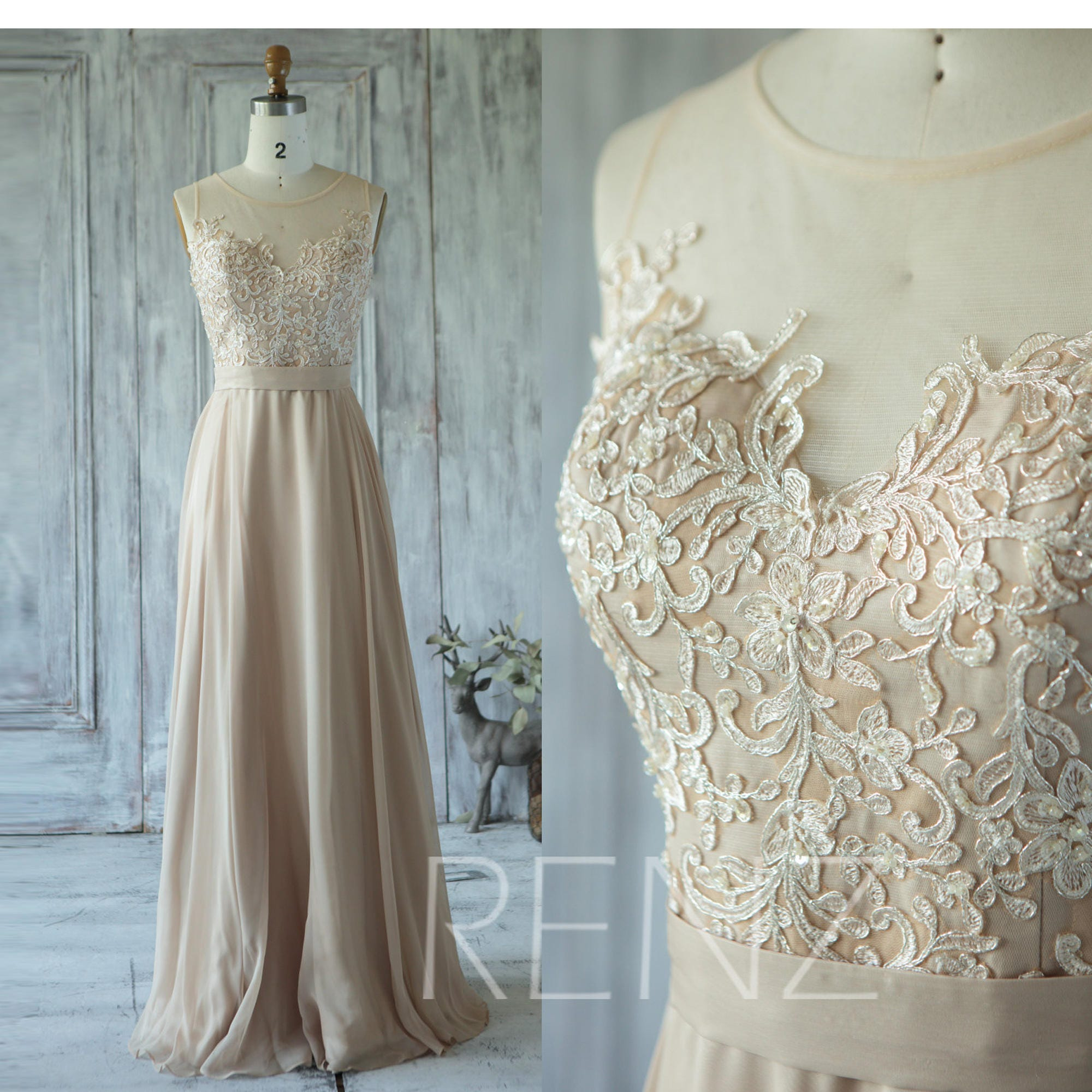 Champagne bridesmaid dress tulle illusion wedding dress zoom ombrellifo Images