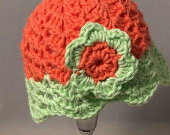 Crochet Baby Sun Hat, orange with light green brim and flower