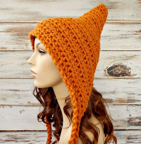 Orange Pixie Hat Womens Hat Ear Flap Hat - Crocheted Pixie Hat in Apricot Orange Crochet Hat Womens Accessories - READY TO SHIP