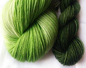Hand dyed yarn, Irish sour apple, 75/25 super wash merino wool/nylon yarn, sock yarn, green yarn. tonal yarn. green mini skein, sock set